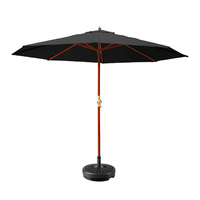 Instahut 3M Umbrella with Base Outdoor Pole Umbrellas Garden Stand Deck Black