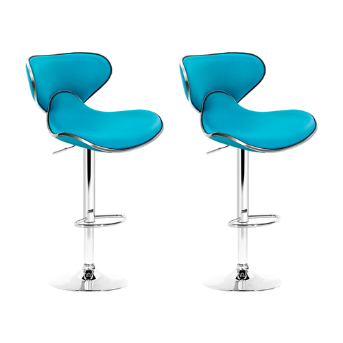 Artiss Set of 2 Bar Stools Gas lift Swivel Chairs Kitchen PU Leather Chrome Teal