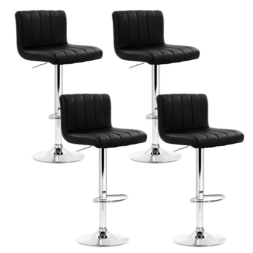 Artiss Set of 4 Line Style PU Leather Bar Stools - Black