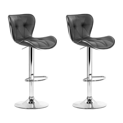 Artiss Set of 2 Kitchen Bar Stools Gas Lift Stool Chairs Swivel Barstools PU Leather Grey