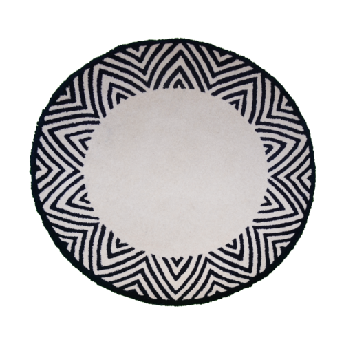 Round Lotus Navy Blue Petal Bordered Hand-Tufted Rug