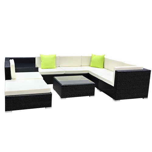 Gardeon 9PC Sofa Set with Storage Cover Outdoor Furniture Wicker