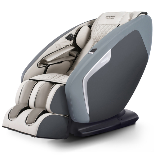 Livemor 3D Electric Massage Chair Shiatsu SL Track Full Body 58 Air Bags Navy Grey
