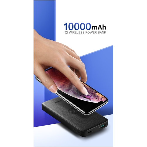 UGREEN 10000mAh Power bank with 10W QI Wireless Charging Pad - Black (50578)